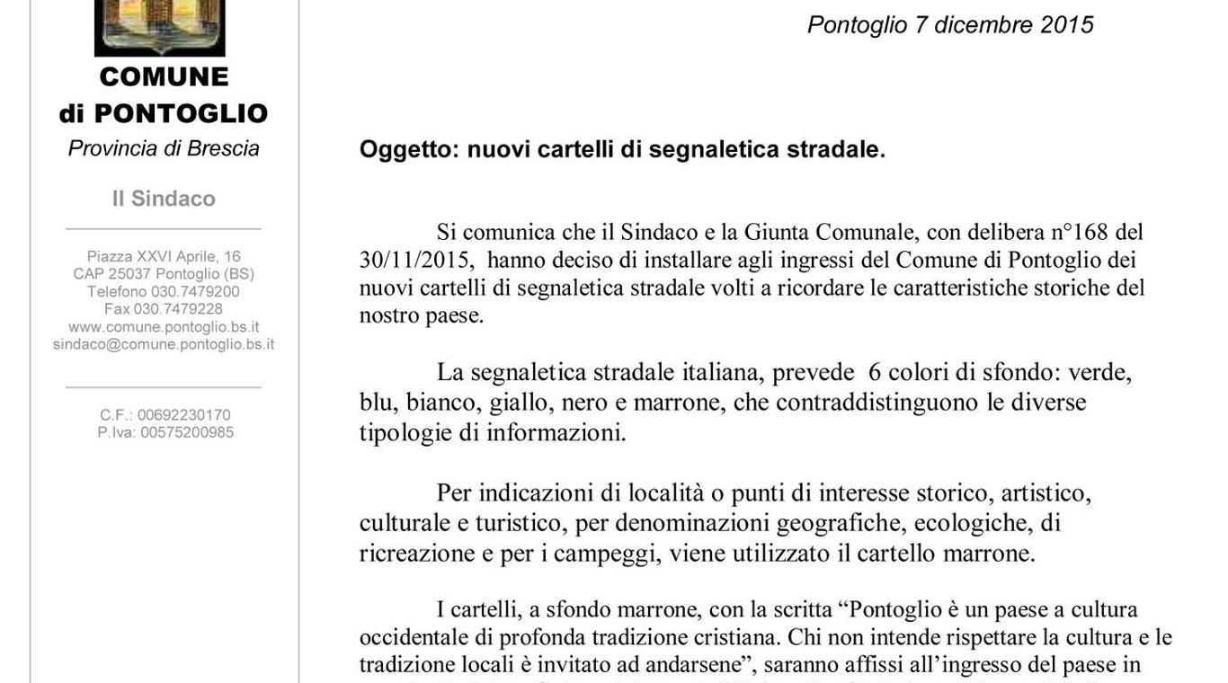 Lettera Pontoglio