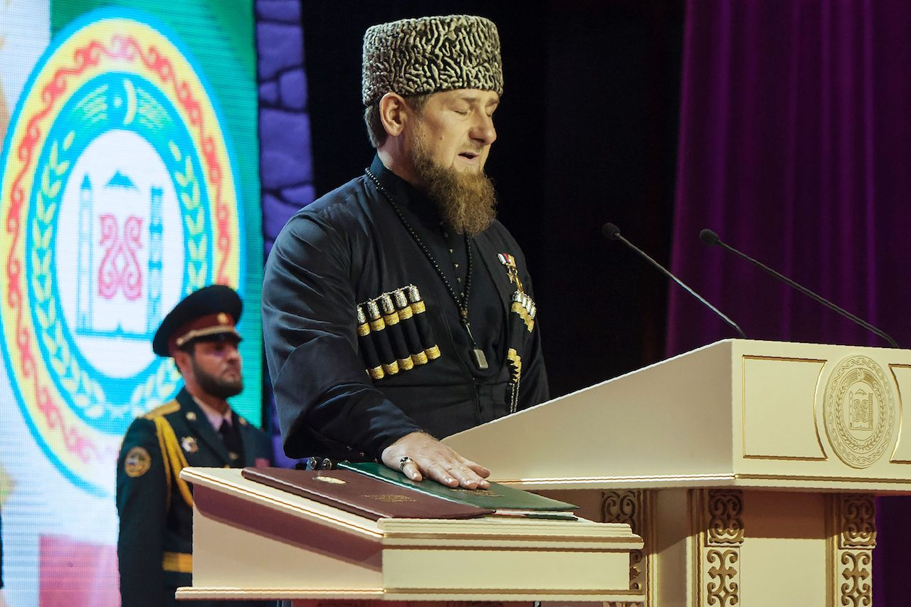 Ramzan Kadyrov takes an oath during the ceremony of his inauguration as the head of Russia's Caucasus region of Chechnya for a third term, in Grozny on October 5, 2016. / AFP / ELENA FITKULINA (Photo credit should read ELENA FITKULINA/AFP/Getty Images)