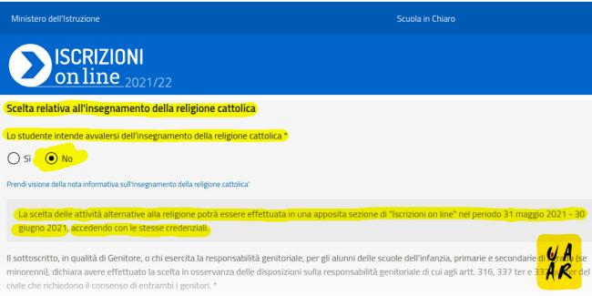 iscrizioni scolastiche 2021/22: scegli NO religione cattolica